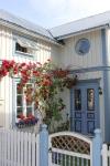 Gulligt hus med vackra rosor