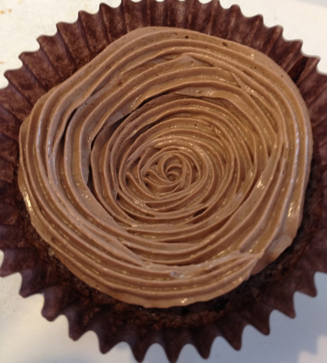 Kladdkakscupcake med chokladespressofrosting